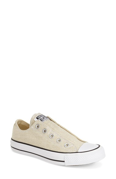 converse chuck taylor all star 39 washed 39 slip on in beige seashell. Black Bedroom Furniture Sets. Home Design Ideas