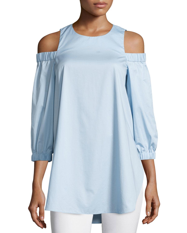 1dc4c38d99bdb3 Tibi Satin Poplin Cold-shoulder Blouse in Blue - Lyst