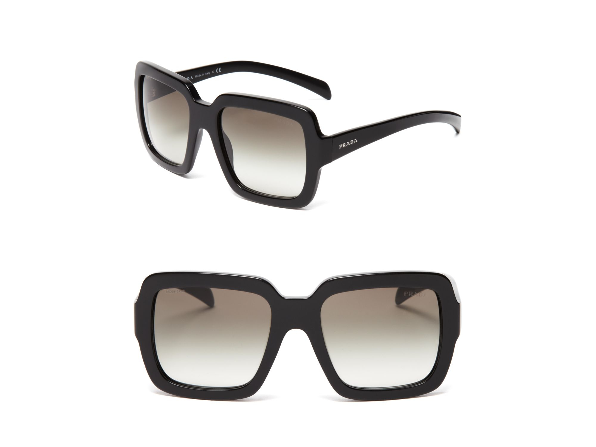 970c555e15 ... top quality lyst prada square oversized sunglasses in black 79c27 9a938