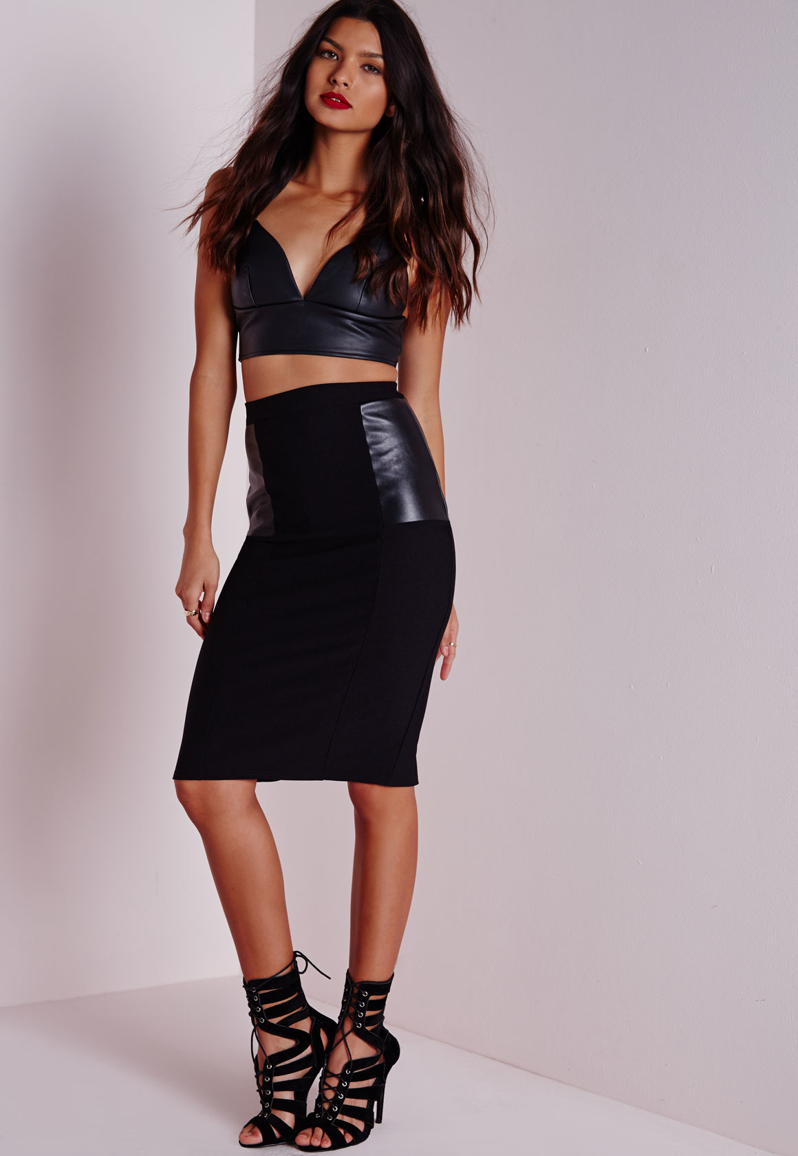 missguided faux leather panel midi skirt black in black lyst