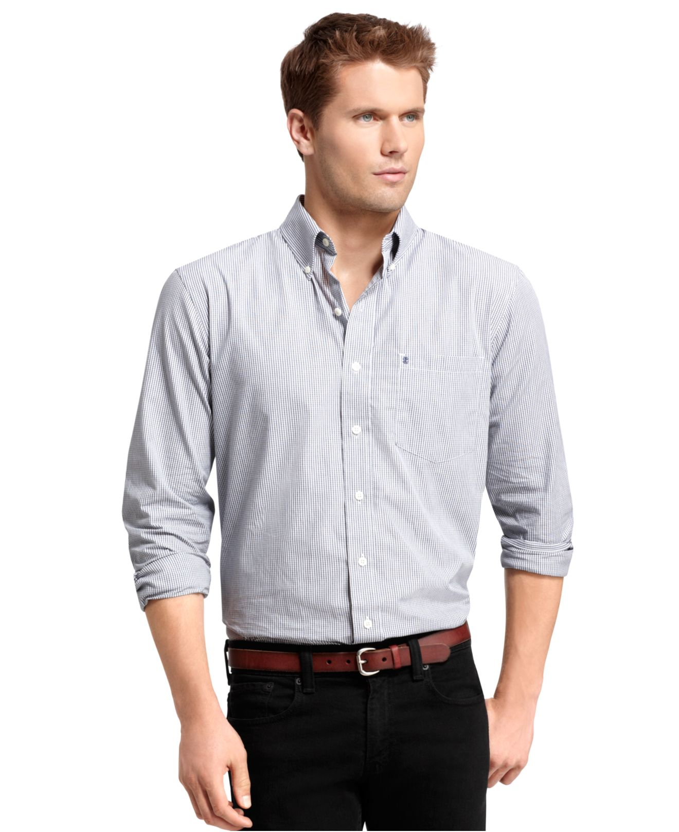 Lyst izod big and tall shirt long sleeve essential mini for Izod big and tall essential solid shirt