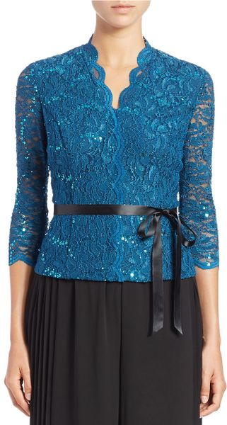 Alex Evenings Lace Blouse In Blue Teal Ink Lyst