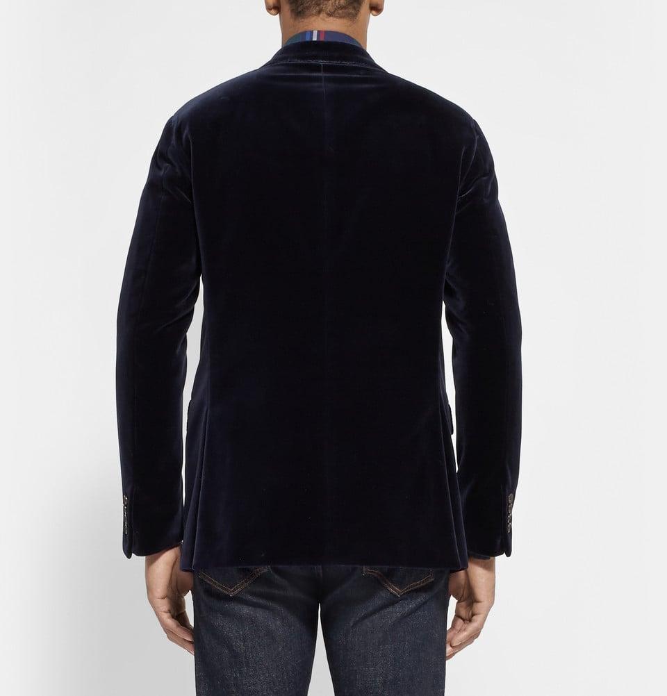 polo ralph lauren slim fit velvet blazer in blue for men. Black Bedroom Furniture Sets. Home Design Ideas