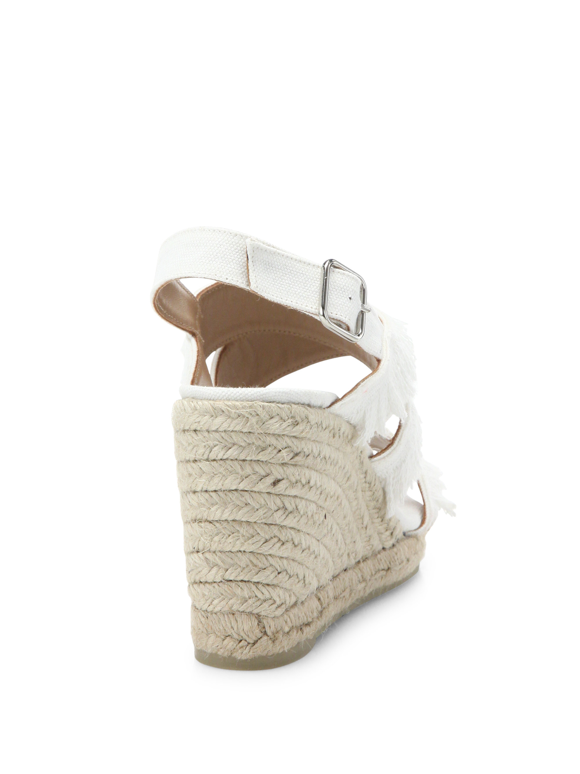 a82a040fd86 Lyst - Castaner Begga Feathered Canvas Espadrille Wedge Sandals in White