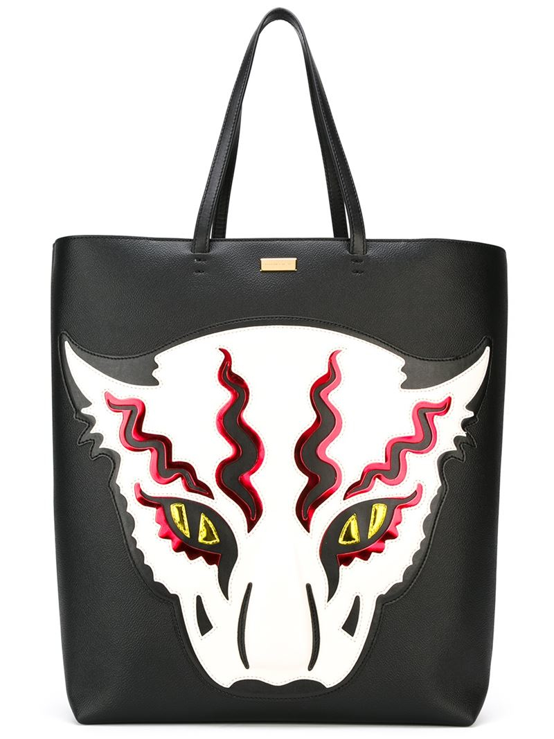 7d9a20db60cd Lyst - Stella McCartney Wild Cat Appliqué Shopper Tote in Black
