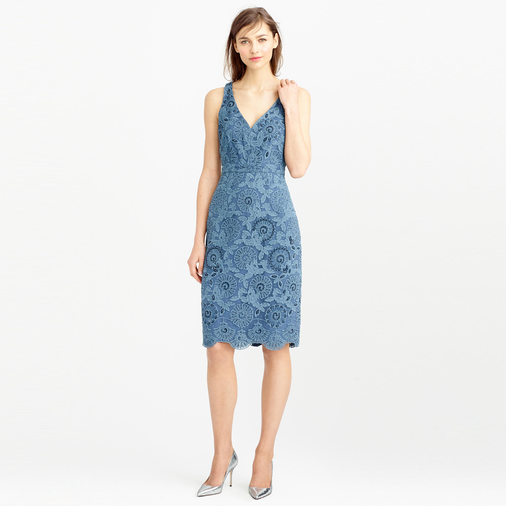 Lyst - J.Crew Collection Beaded Floral Lace Dress in Blue