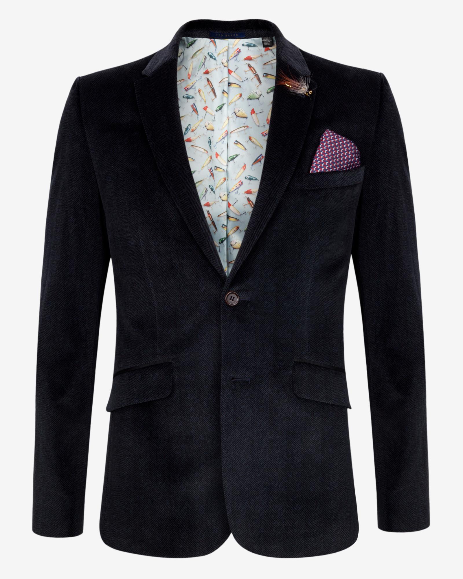b3ad0a83e Lyst - Ted Baker Tight Lines Velvet Blazer in Blue for Men
