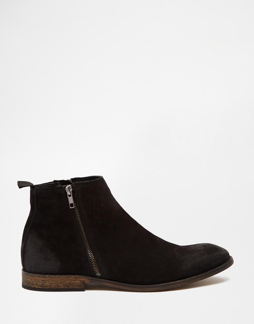 asos chelsea boots in black suede with zip in black
