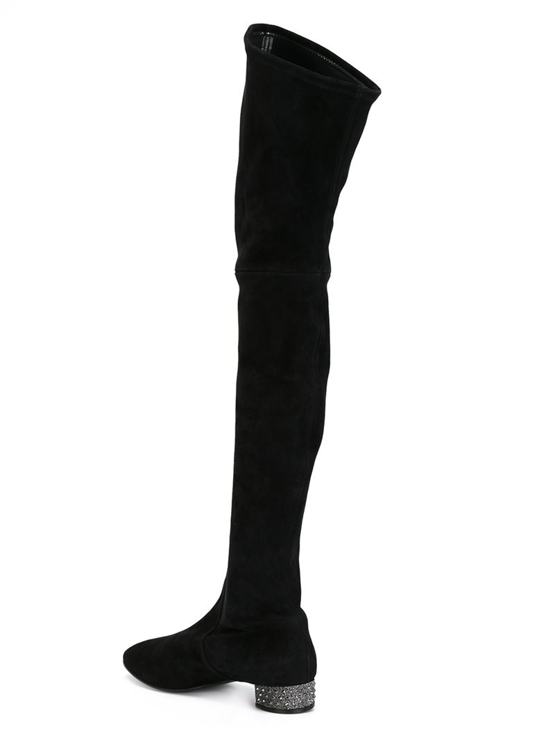 casadei embellished heel thigh high boots in black lyst
