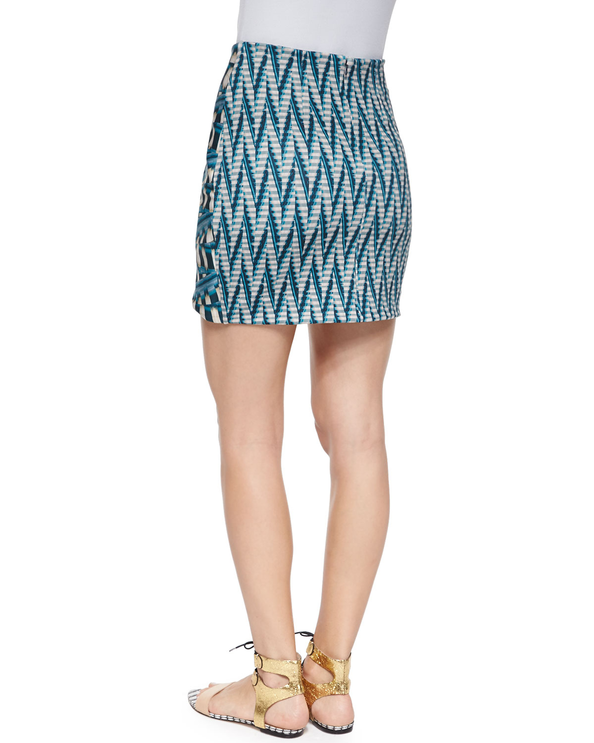 ronny kobo abstract print pencil skirt in blue lyst
