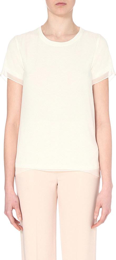 Joseph silk georgette t shirt in white lyst for Silk white t shirt