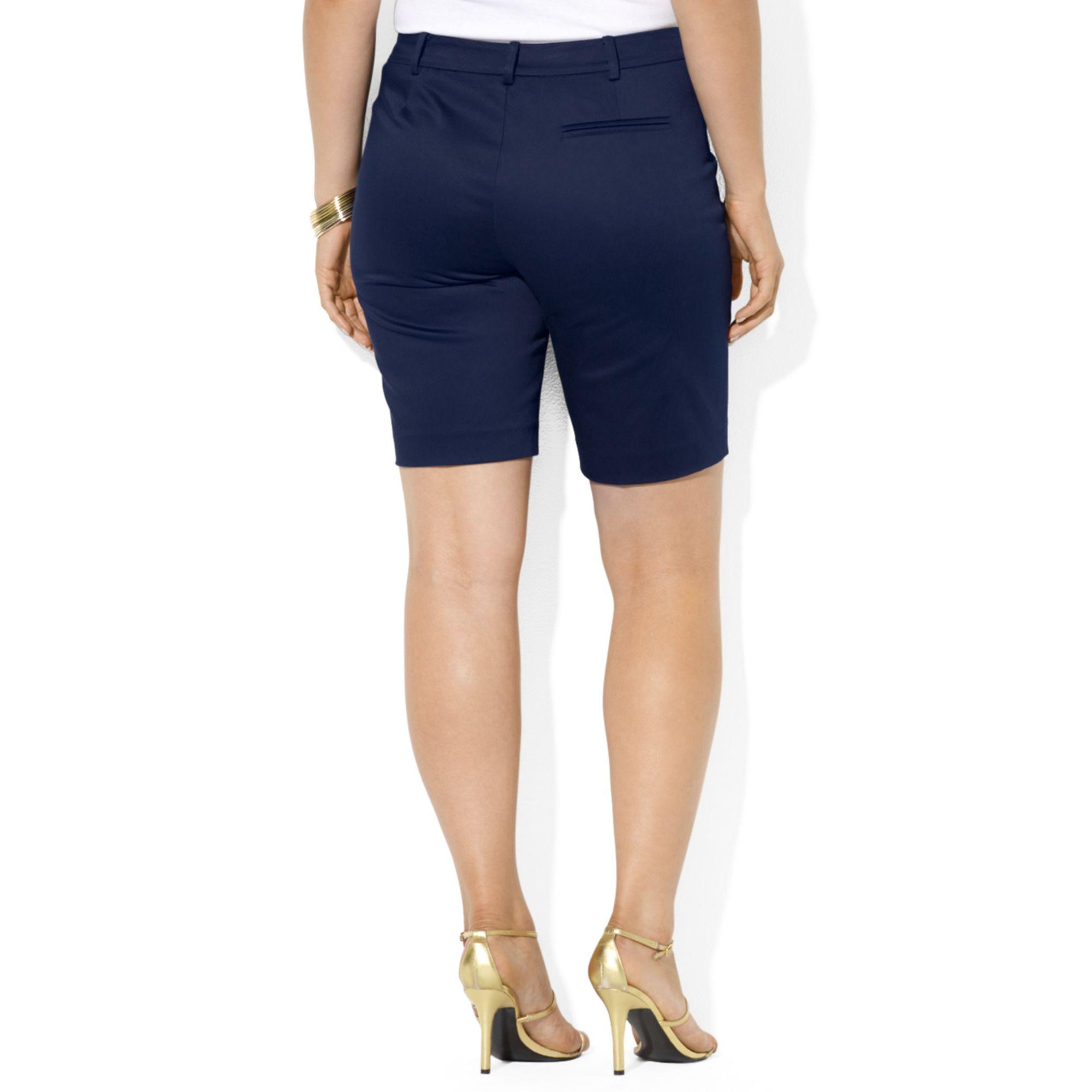 6a617935c1 Lauren by Ralph Lauren Plus Size Sateen Bermuda Shorts in Blue for ...