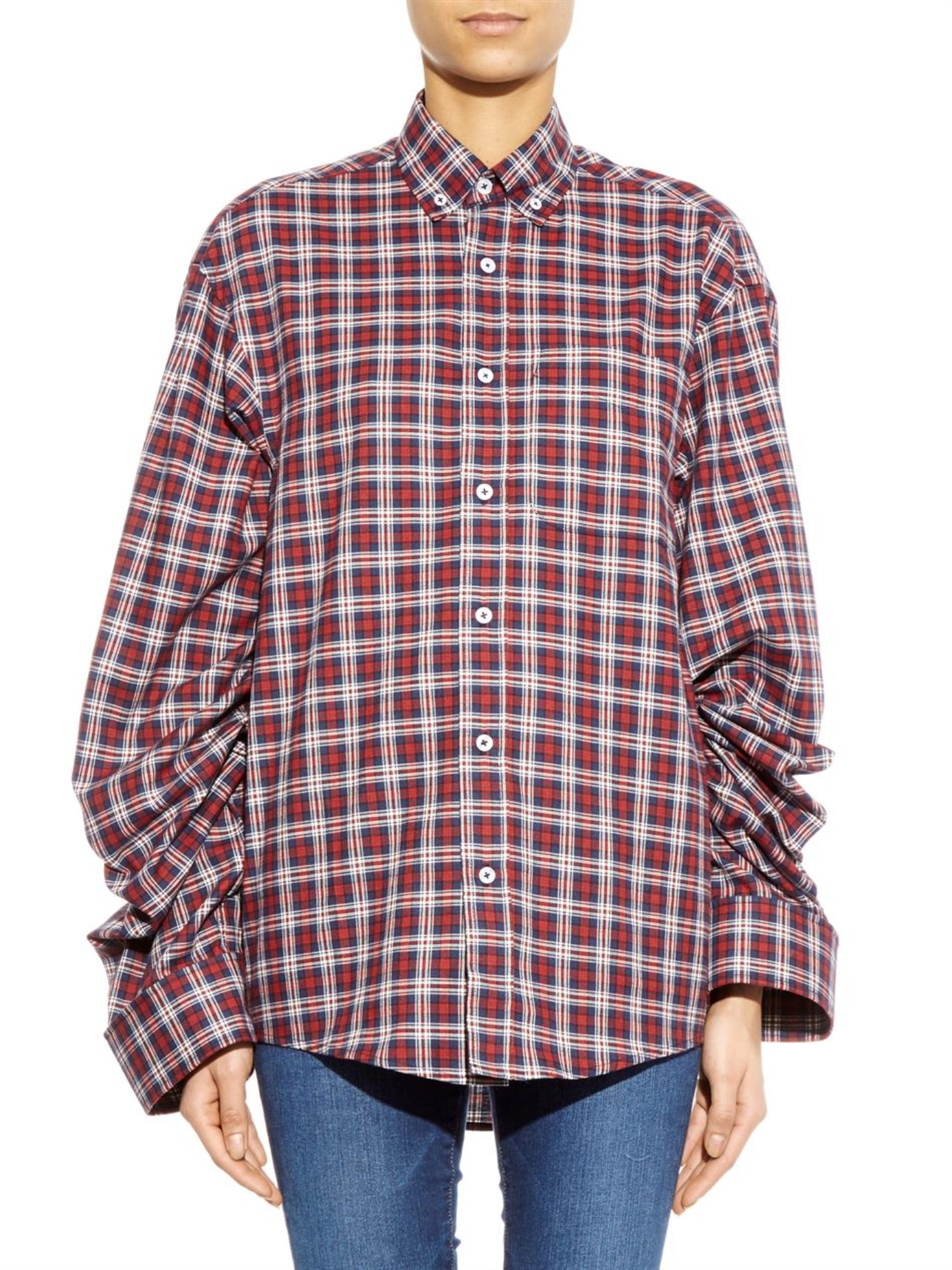Lyst vetements oversized plaid cotton shirt in red for Oversized red plaid shirt