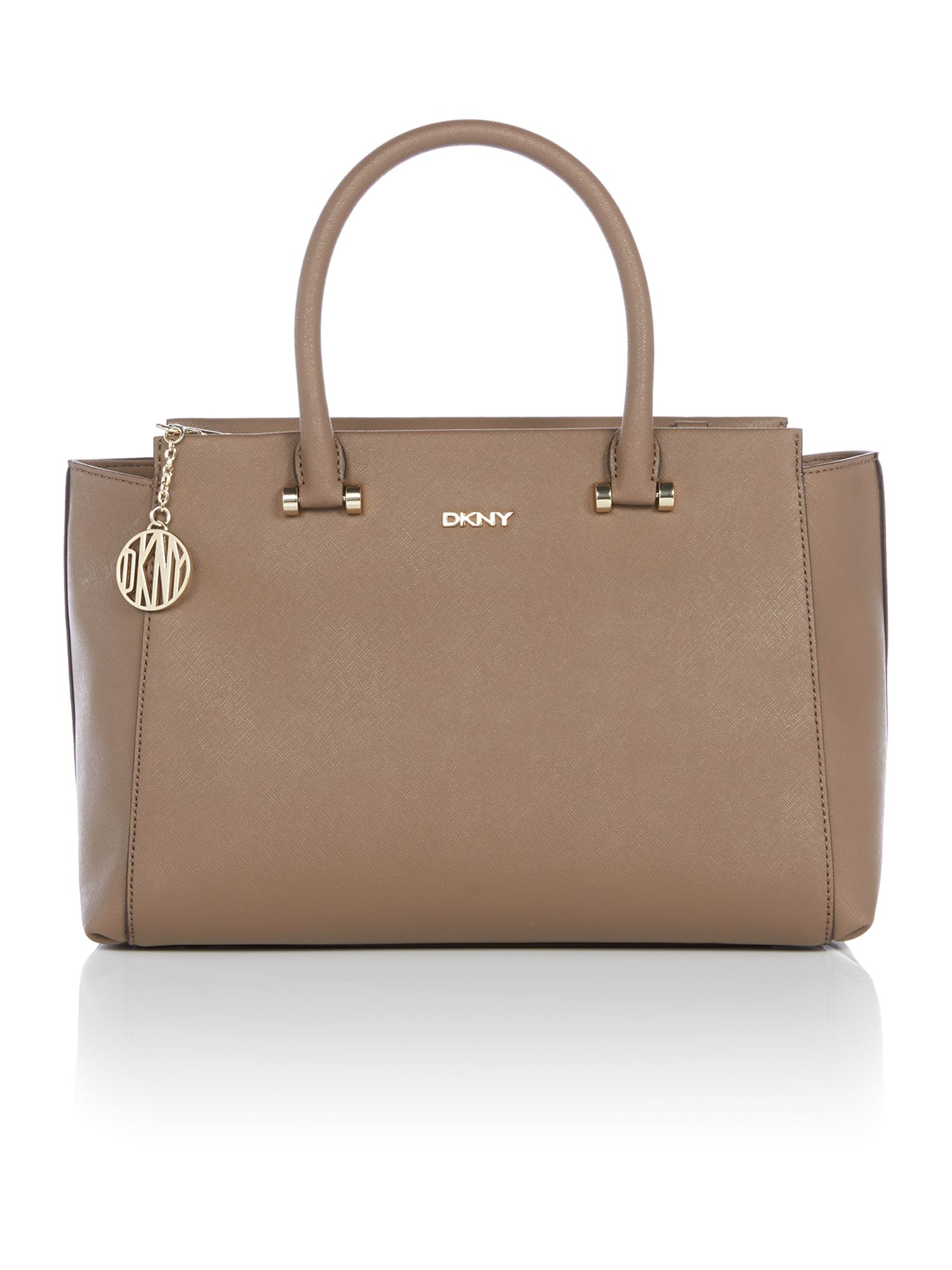 Dkny saffiano taupe large satchel bag in brown lyst Sdb chocolat taupe