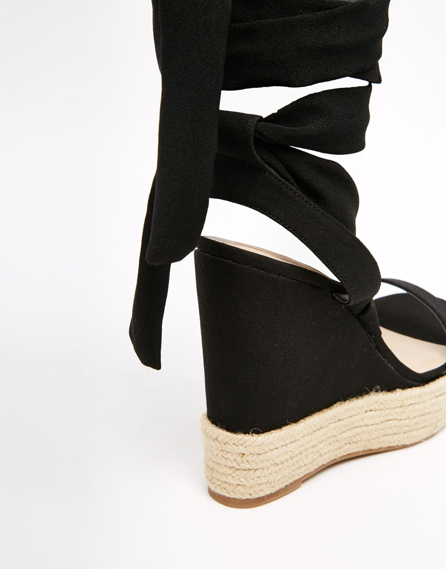 6e30e3d2cb ASOS Tornado Lace Up Wedges in Black - Lyst