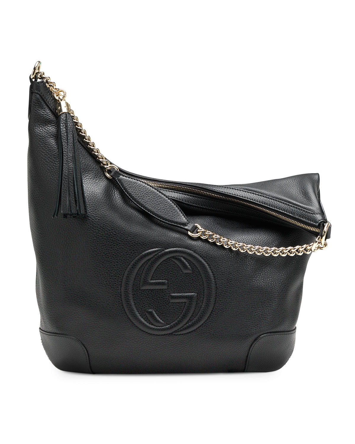 4e18663791af Gucci Soho Gg Leather Cross-body Bag in Black - Lyst
