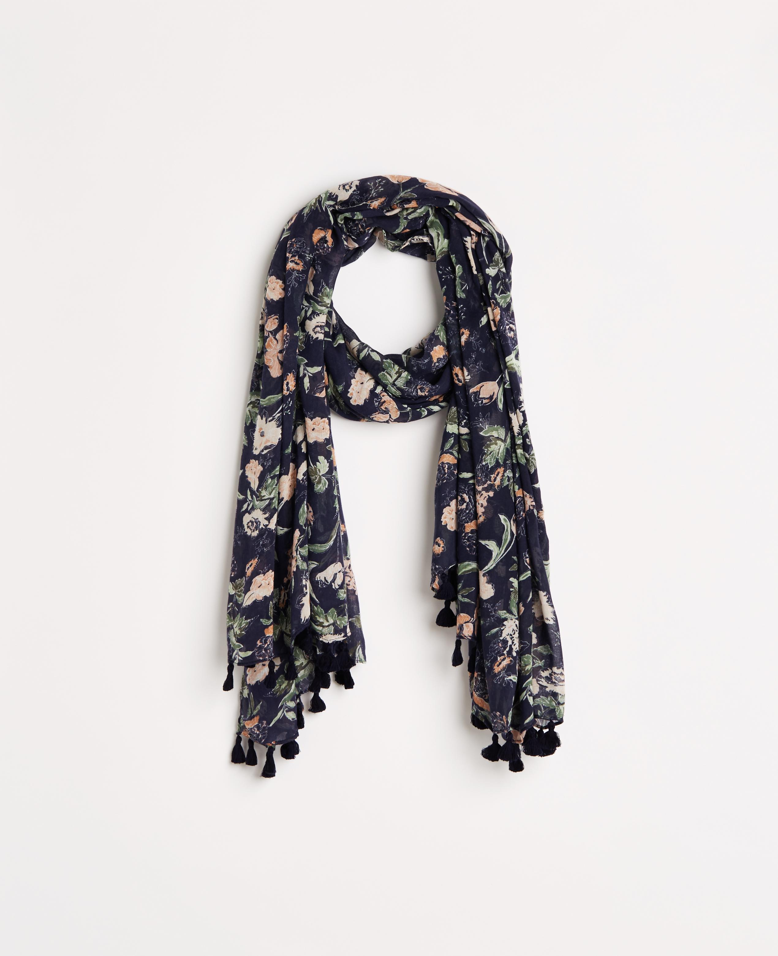 Ann taylor Floral Tassel Scarf in Blue | Lyst