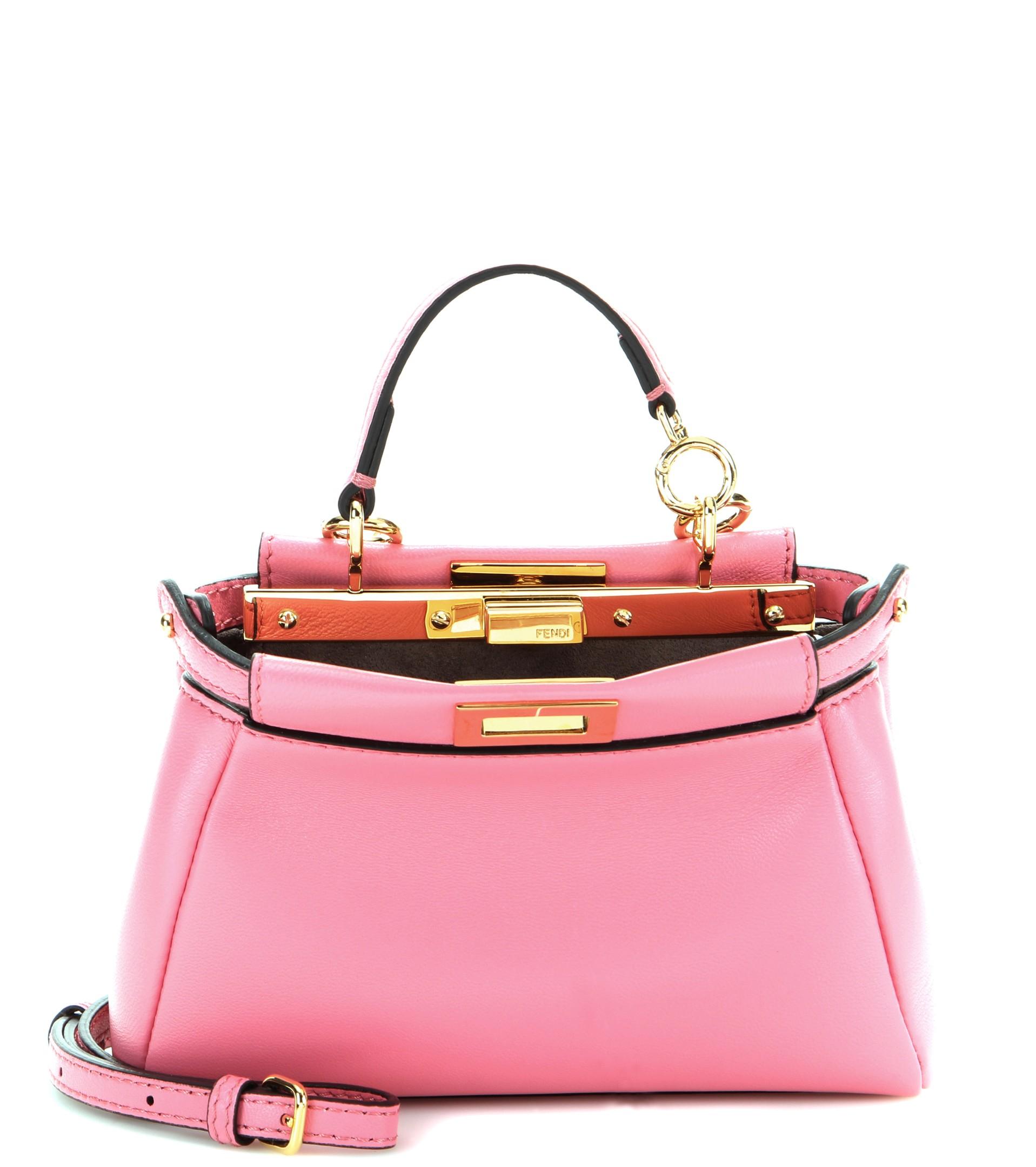 b529a814b70 Fendi Micro Peekaboo Leather Shoulder Bag in Pink - Lyst