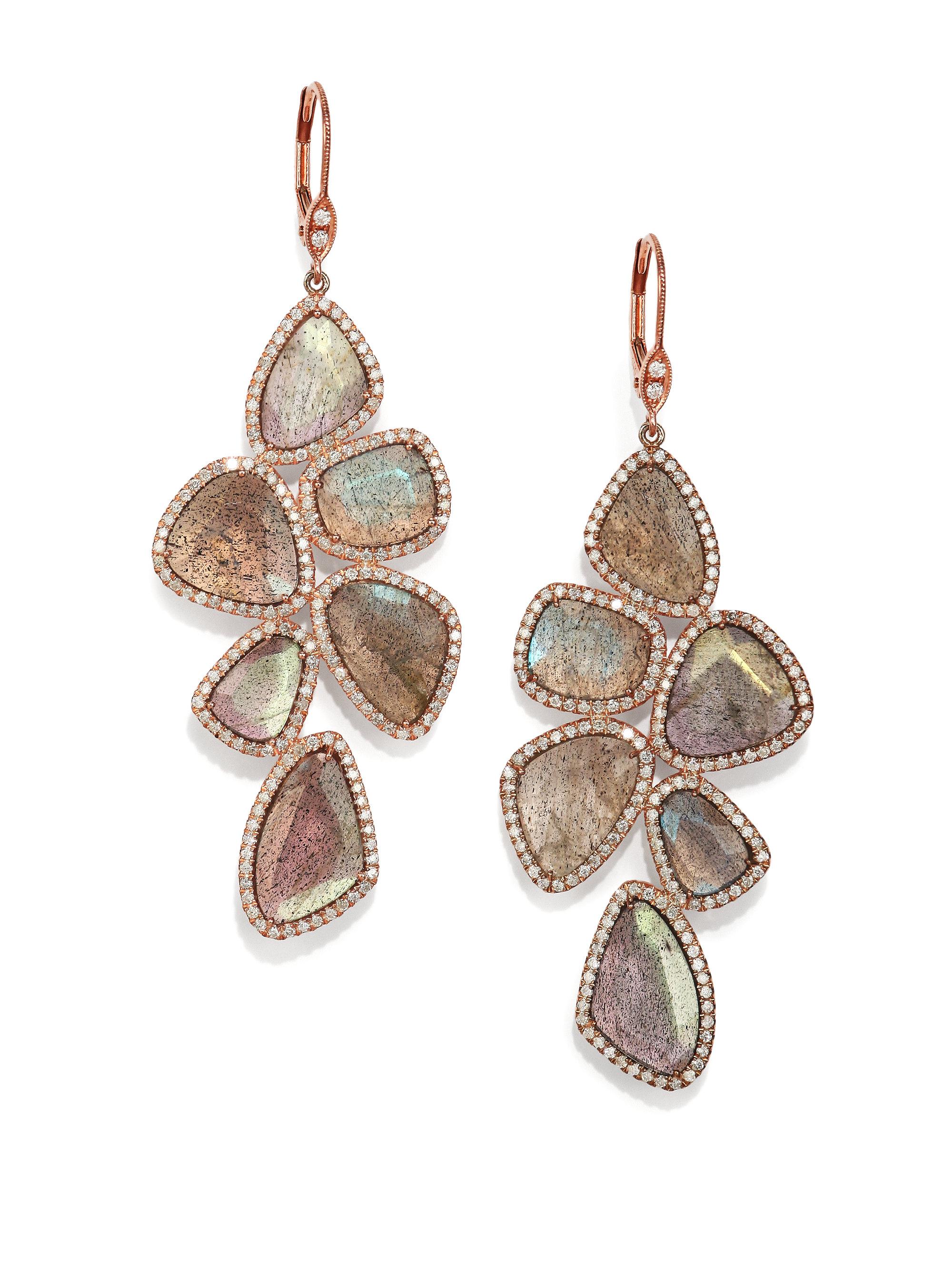 Meira t Labradorite Diamond & 14k Rose Gold Drop Earrings in