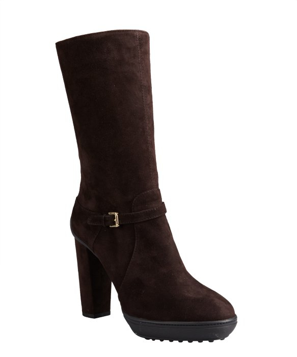 tod s chocolate suede buckle mid calf platform boots