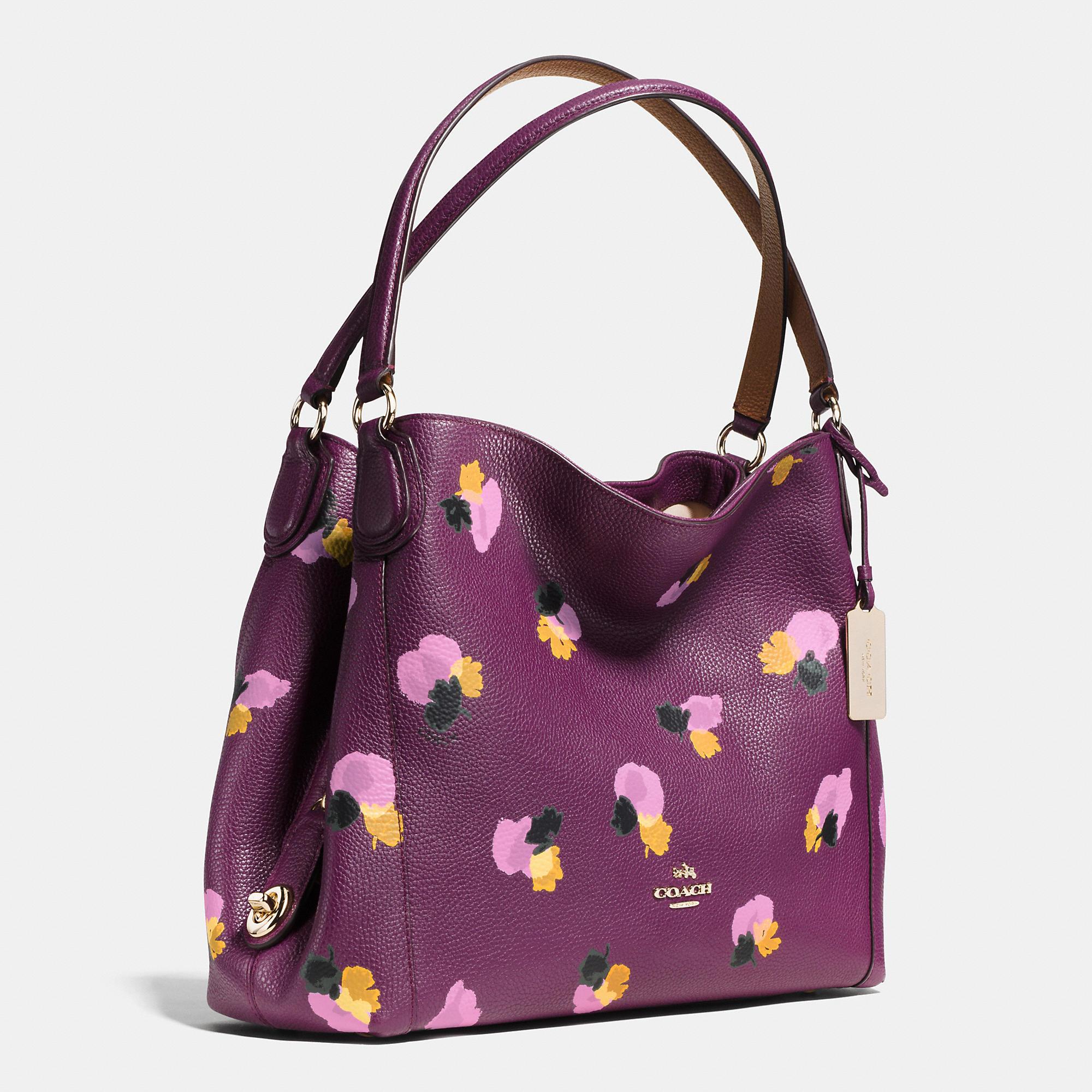 1a3fff625b ... spain lyst coach edie shoulder bag 31 in floral print leather in purple  6626c 0da26