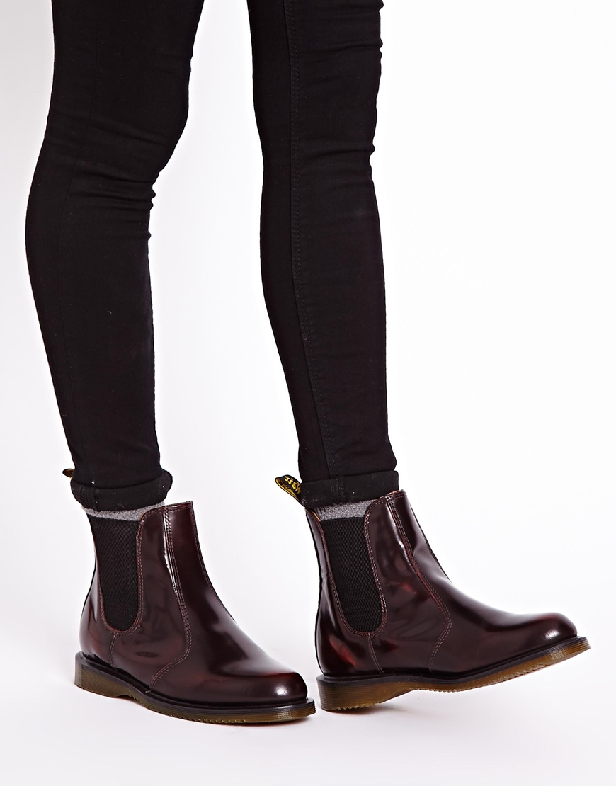 dr martens kensington flora burgundy chelsea boots in brown lyst. Black Bedroom Furniture Sets. Home Design Ideas