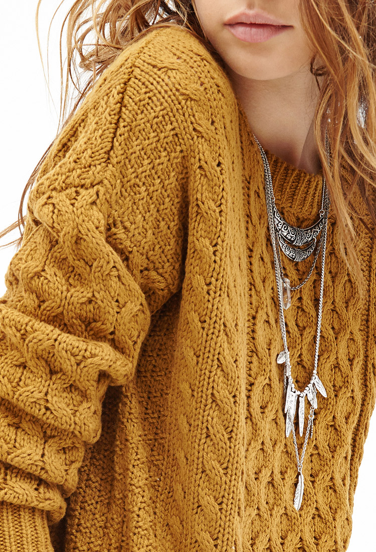 Forever 21 Cable Knit Sweater in Yellow | Lyst