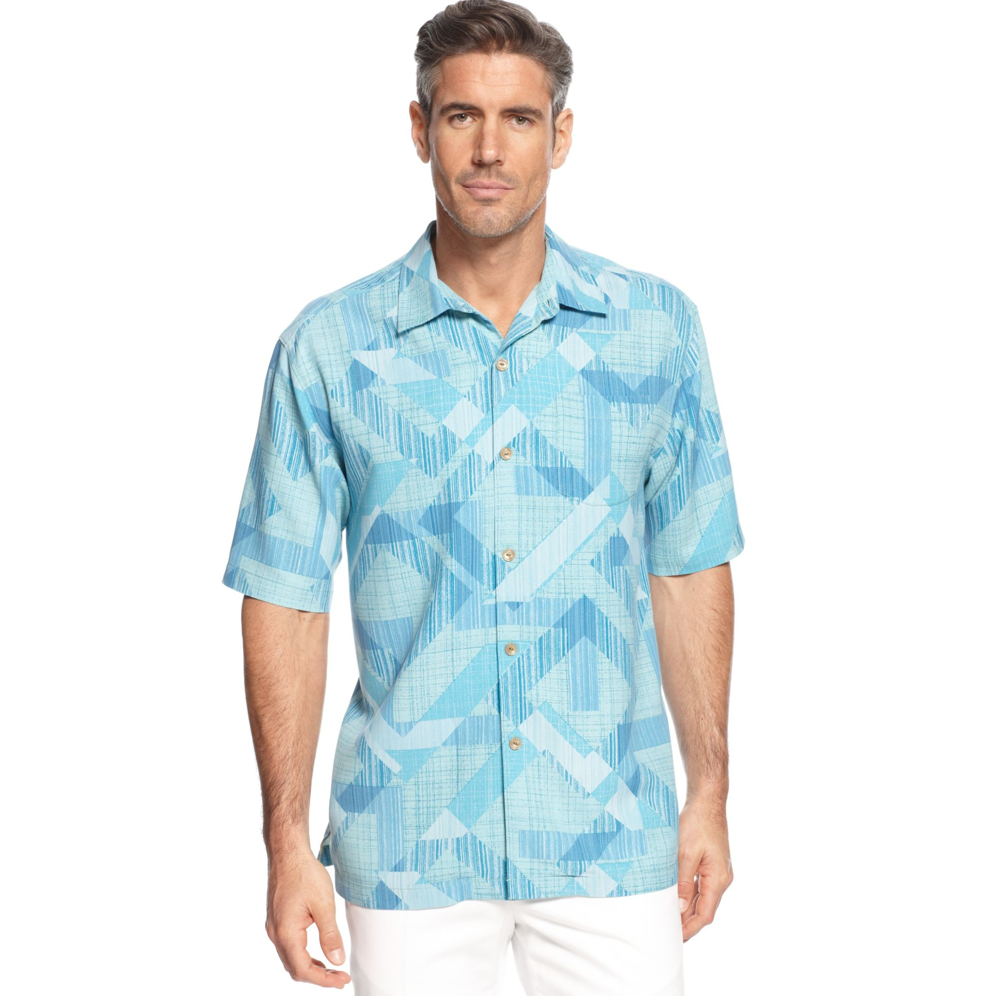 Tommy bahama santiago squares shirt in blue for men for Tommy bahama christmas shirt 2014