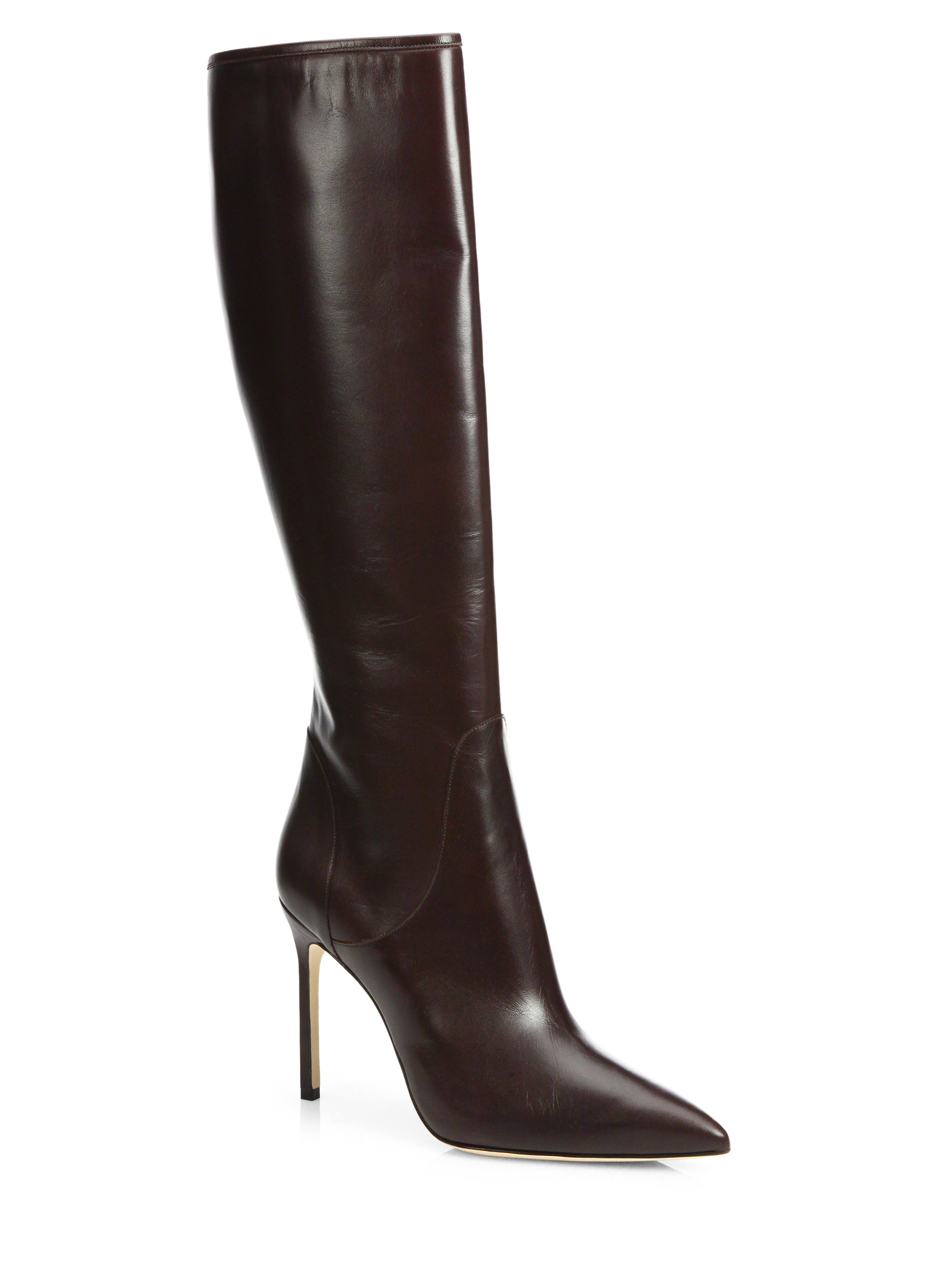 manolo blahnik hanzuotal leather knee high boots in brown