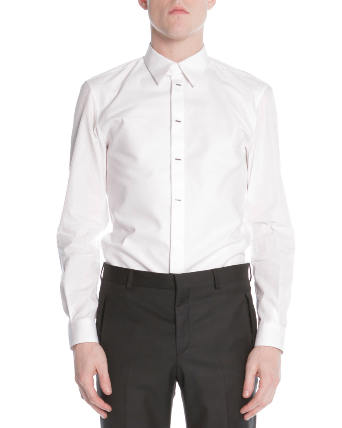 Lyst givenchy silver bar front poplin shirt in white for men for What is a poplin shirt