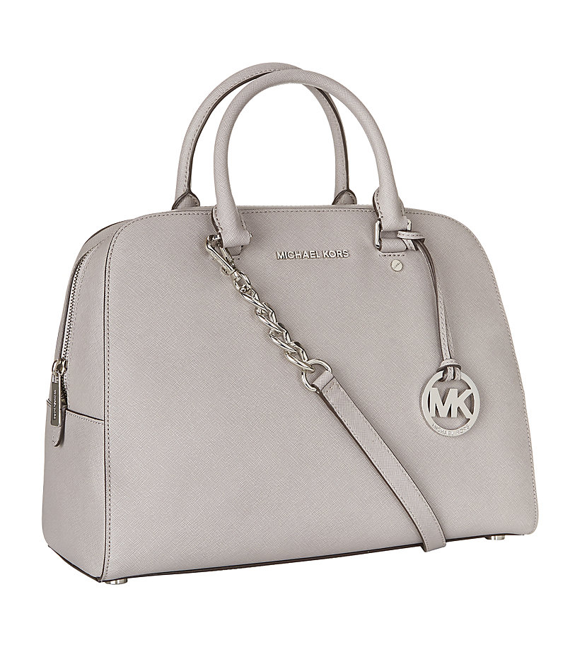 michael michael kors large jet set travel satchel in gray. Black Bedroom Furniture Sets. Home Design Ideas