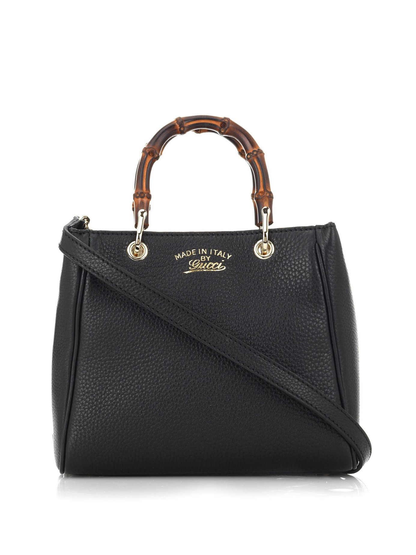 664b9a3c7b32 Lyst - Gucci Bamboo Mini Leather Cross-body Bag in Black