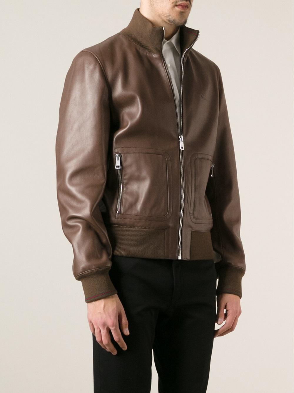 lyst gucci leather jacket in brown for men