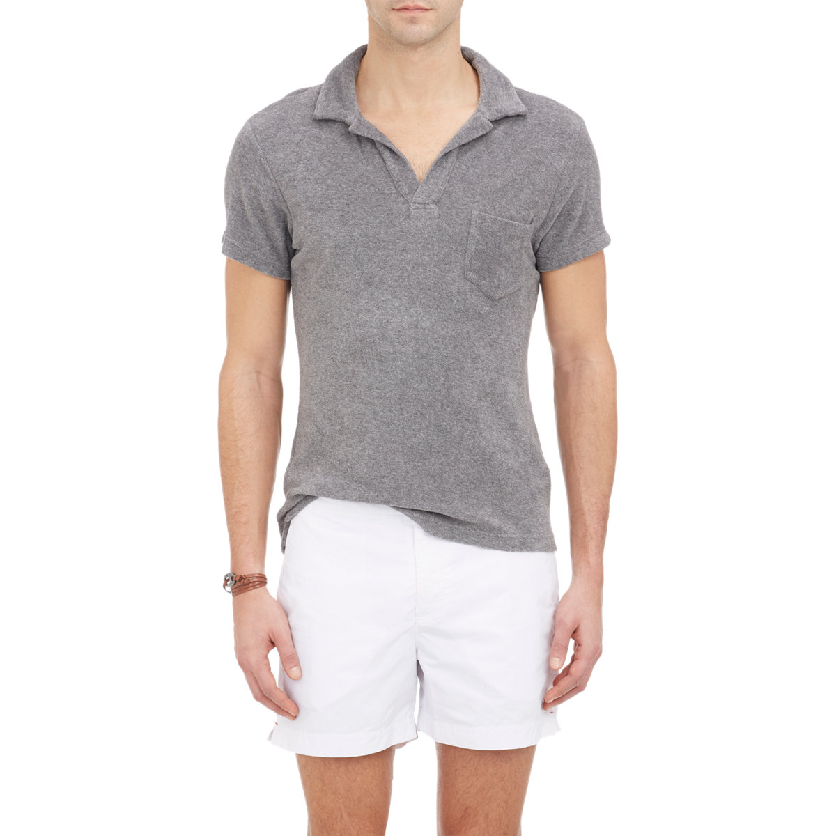 Lyst orlebar brown terry cloth polo shirt in gray for men for Mens terry cloth polo shirt