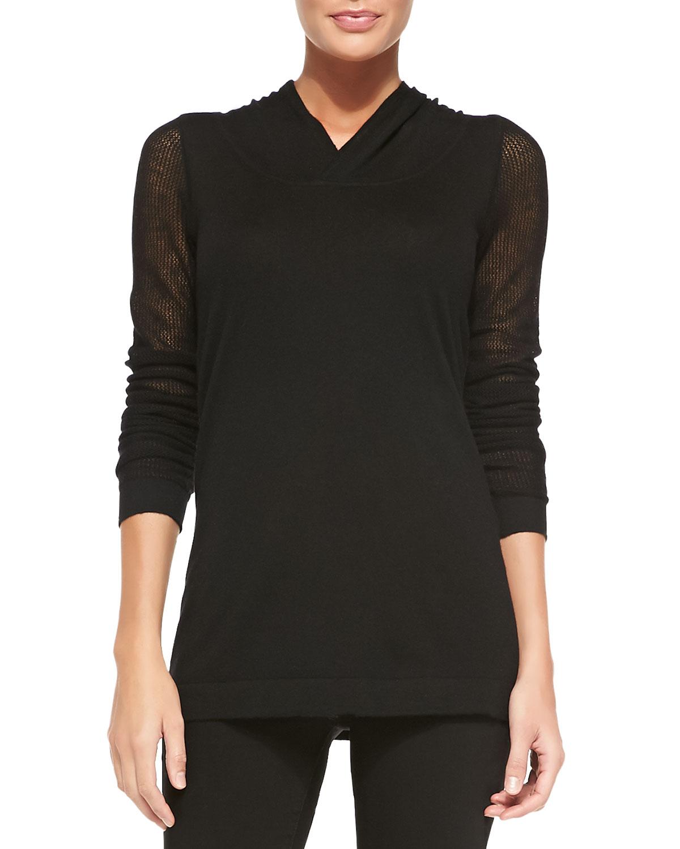 lyst donna karan cashmere hooded long sleeve top in black. Black Bedroom Furniture Sets. Home Design Ideas