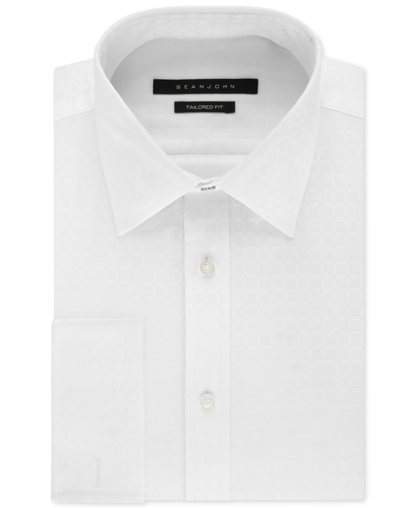 Sean John White Textured Solid French Cuff Dress Shirt In