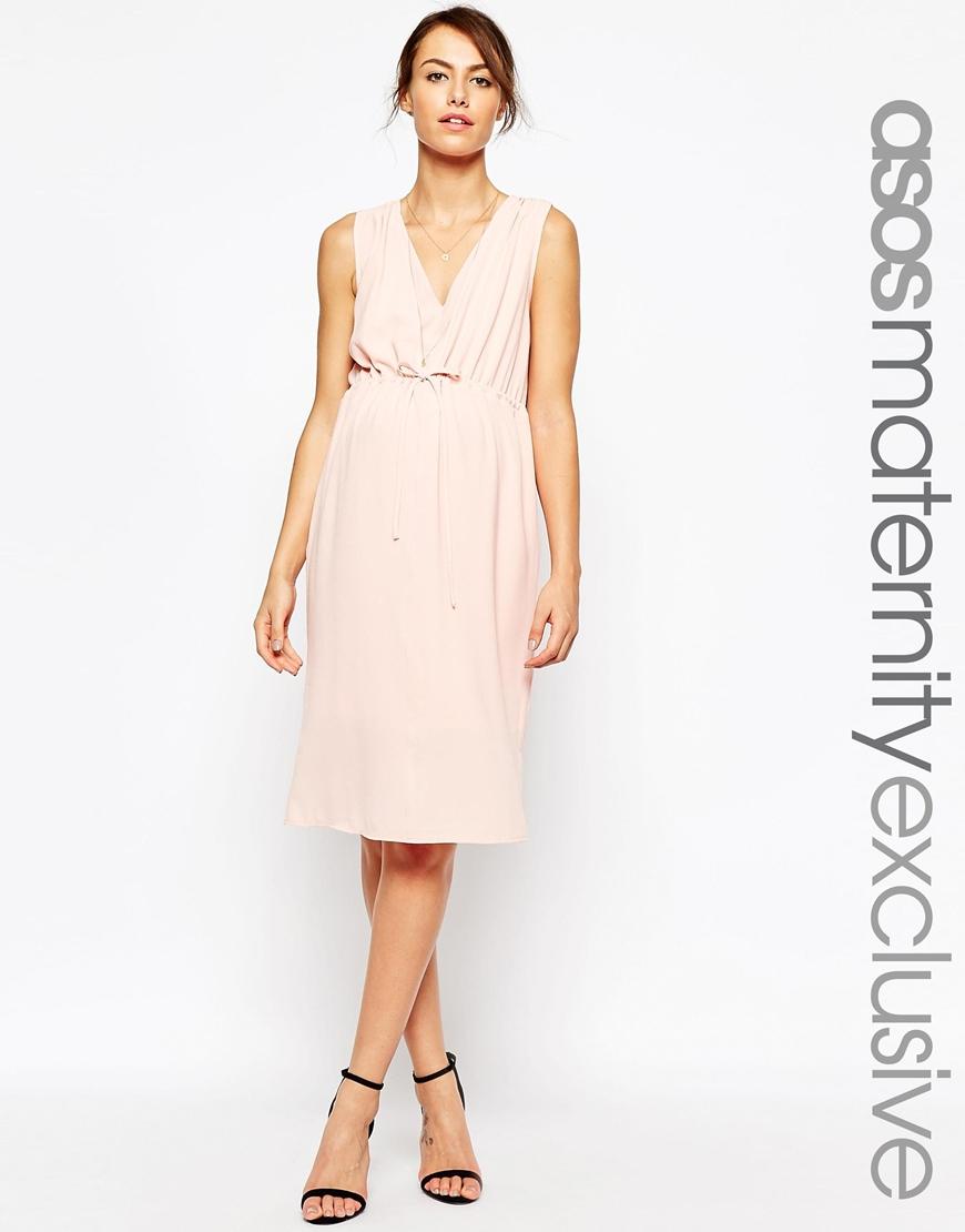 Asos maternity nursing midi dress with drawstring waist in pink lyst gallery ombrellifo Gallery