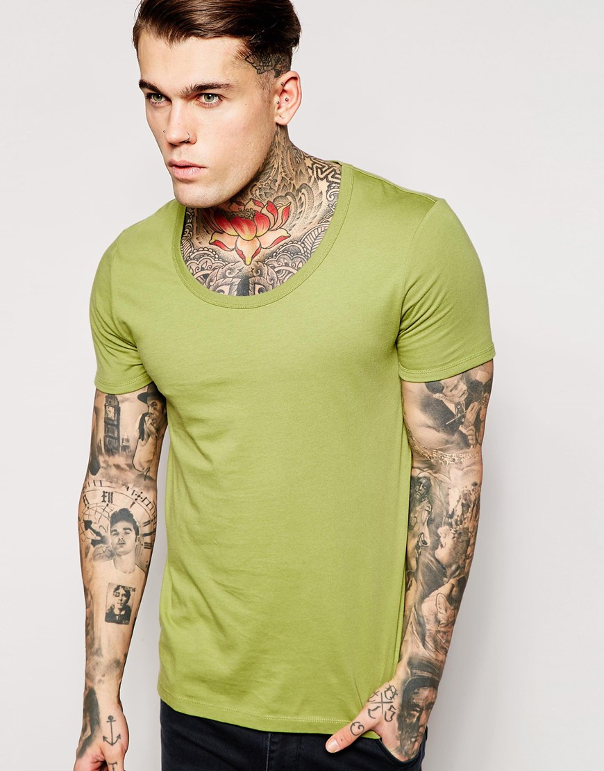 Lyst asos t shirt with bound scoop neck in green for men for Scoop neck t shirt