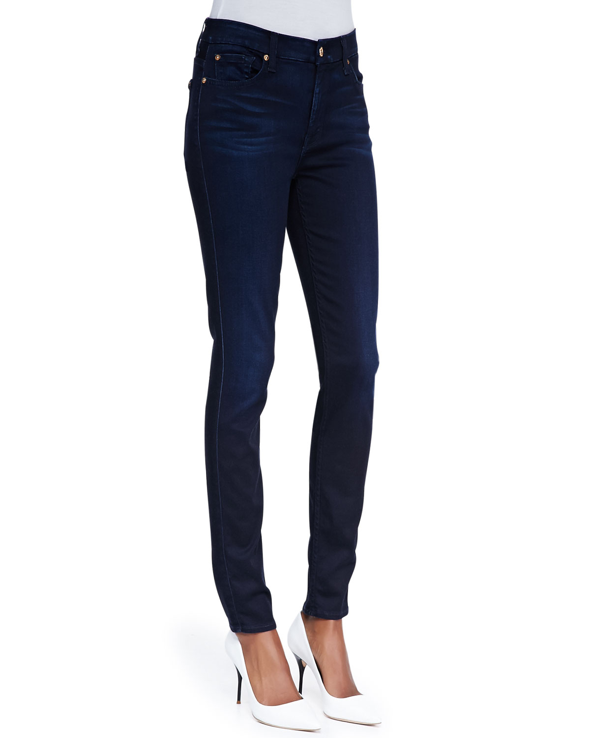 7 for all mankind high waist skinny jeans in blue blue black sateen lyst. Black Bedroom Furniture Sets. Home Design Ideas