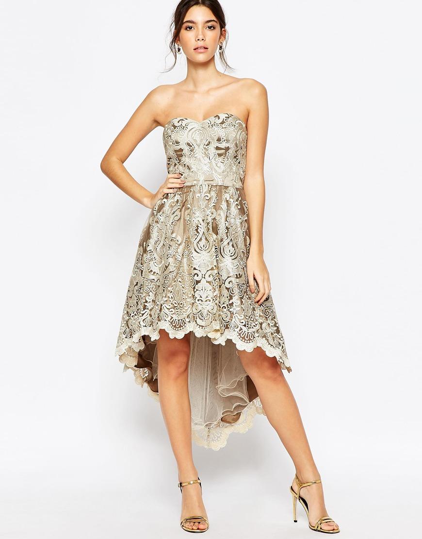 5f4e326fc010 Chi Chi London Premium Metallic Lace Bandeau Dress With High Low Hem ...