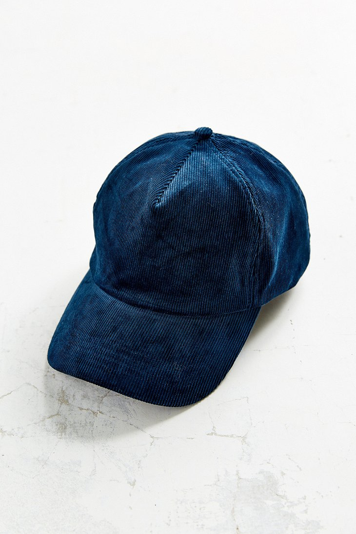 silence noise corduroy baseball hat in blue lyst