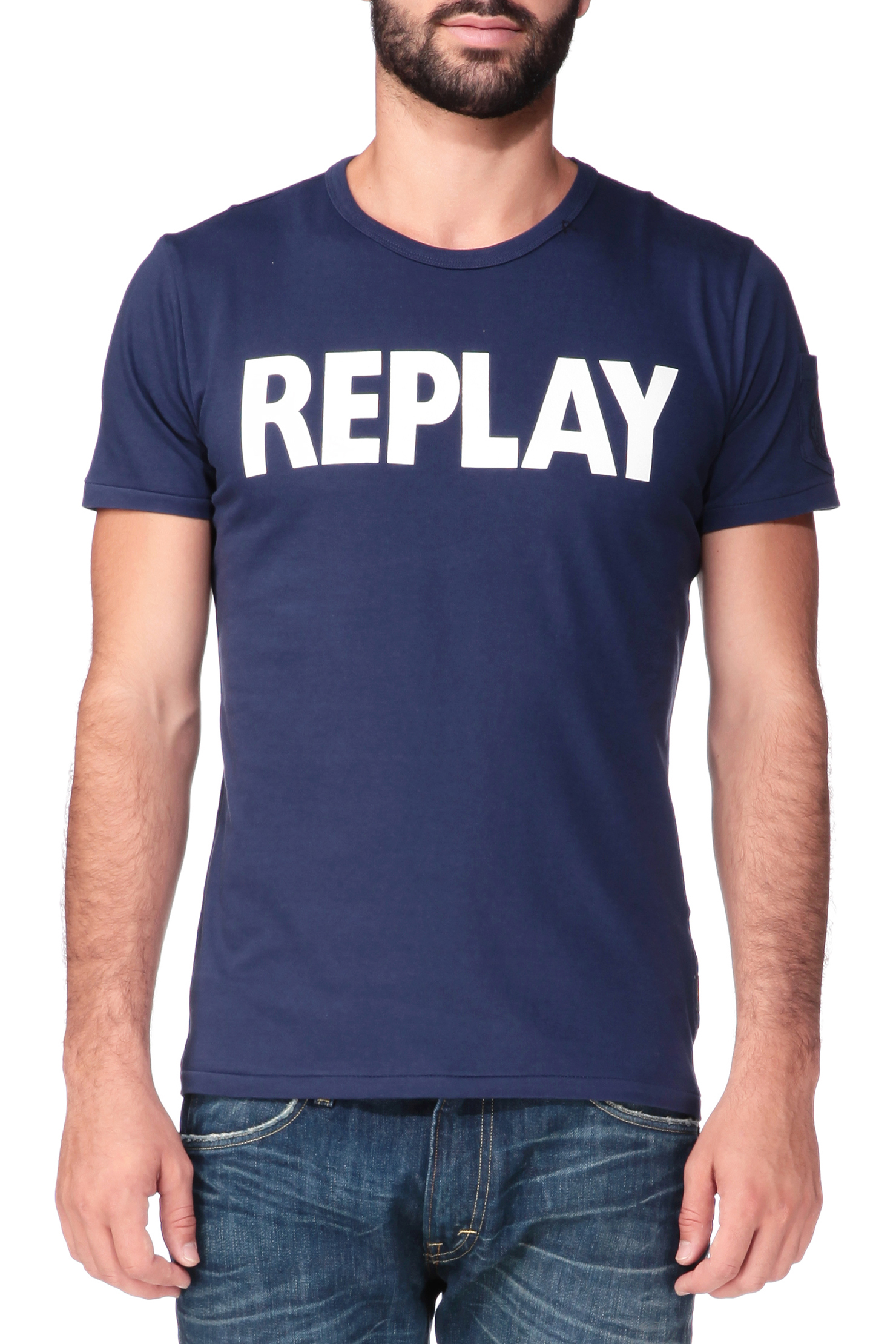 Replay Short Sleeve T Shirt In Blue For Men Lyst
