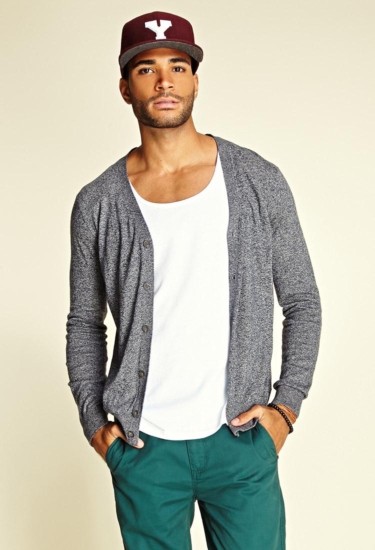 Forever 21 Marled V-neck Cardigan in Gray for Men | Lyst