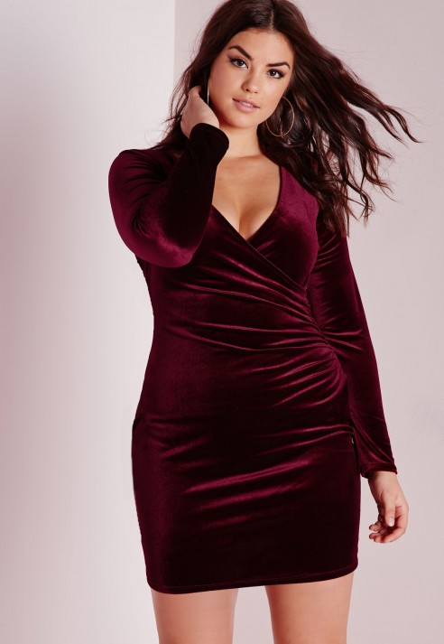 Missguided Plus Size Velvet Wrap Front Dress Burgundy in Purple | Lyst