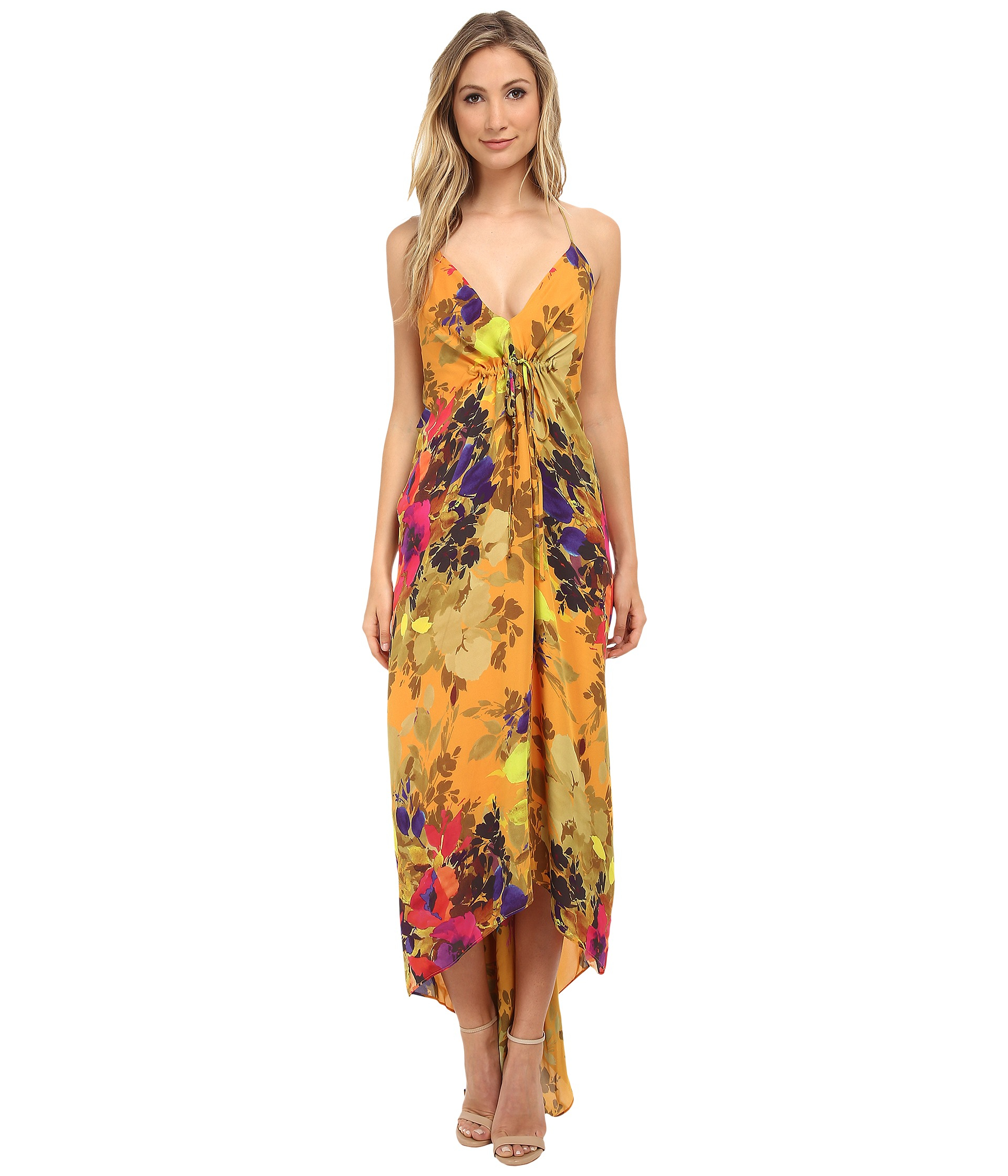 Nicole miller Angelina Maxi Dress in Orange | Lyst