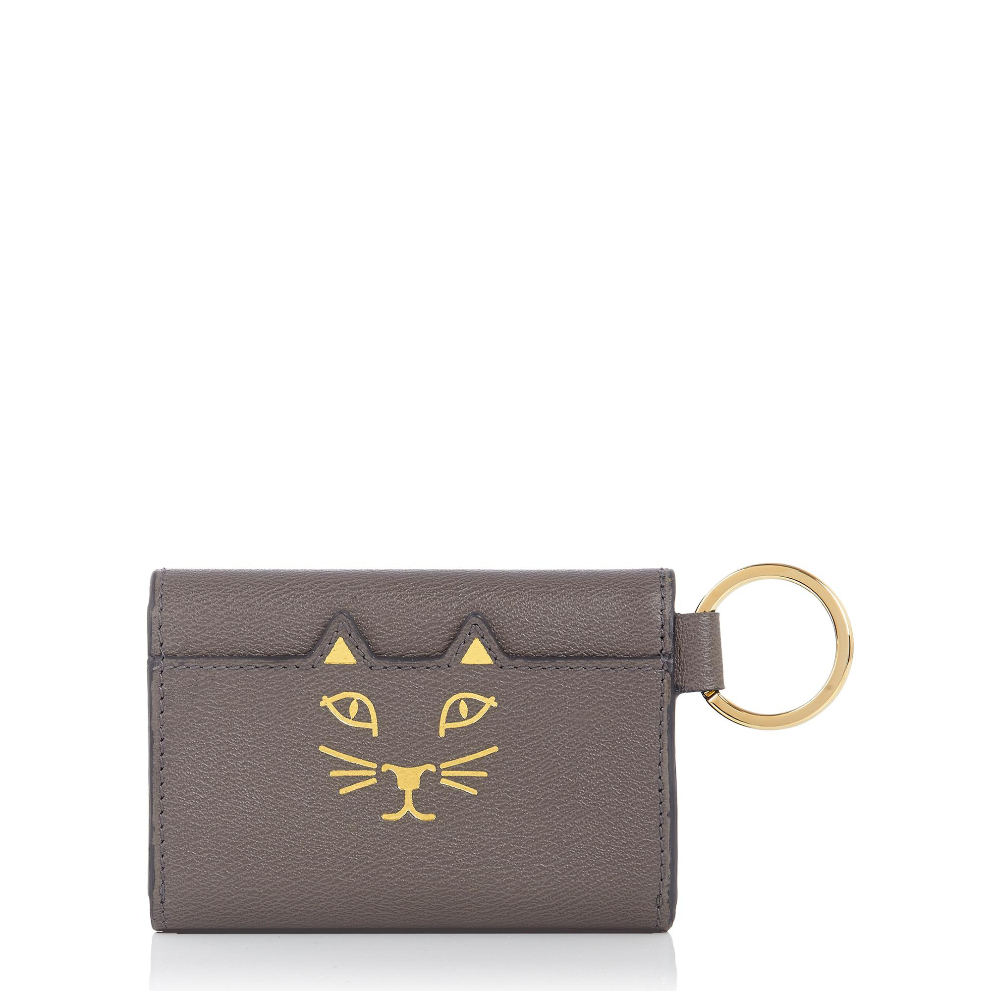 charlotte olympia feline keychain purse in gray grey lyst. Black Bedroom Furniture Sets. Home Design Ideas