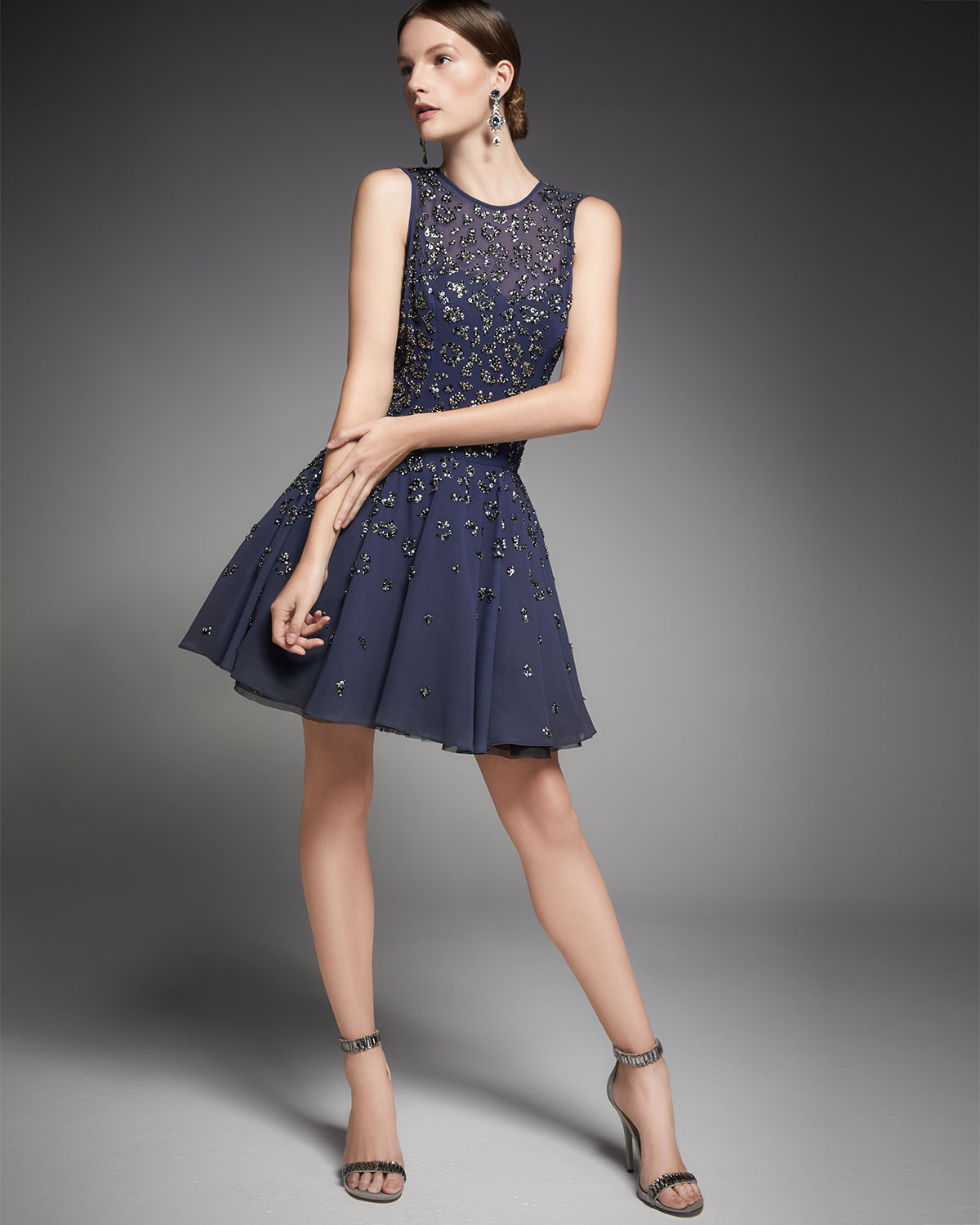 Lyst - Rebecca Taylor Beaded Fit-and-flare Cocktail Dress in Blue