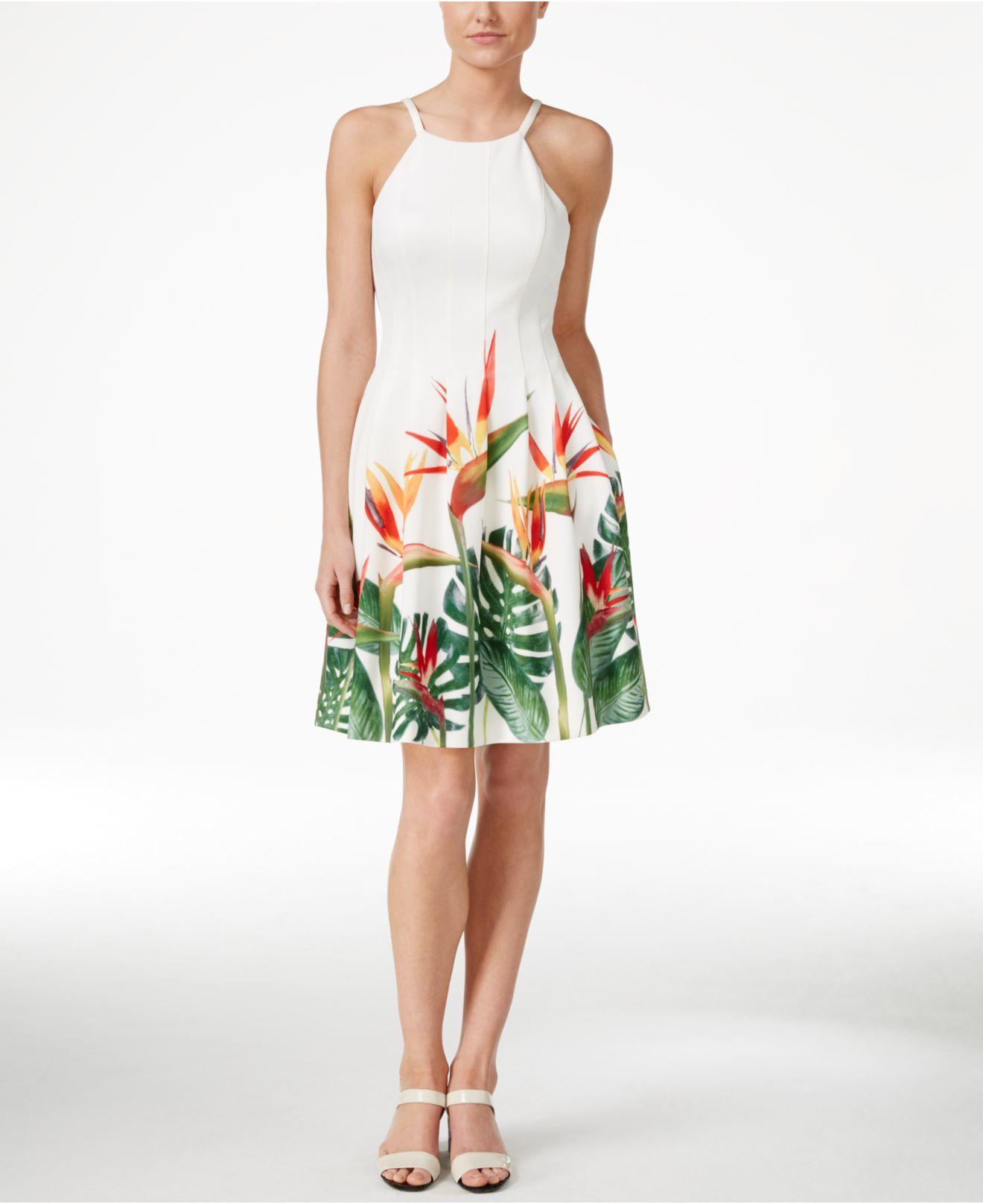 4cbe36227e665 Lyst - Calvin Klein Tropical-print Fit   Flare Halter Dress in White