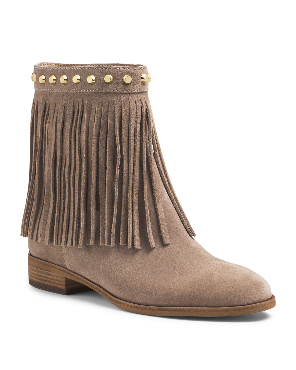 Lyst Michael Kors Michael Billy Studded Fringe Bootie In