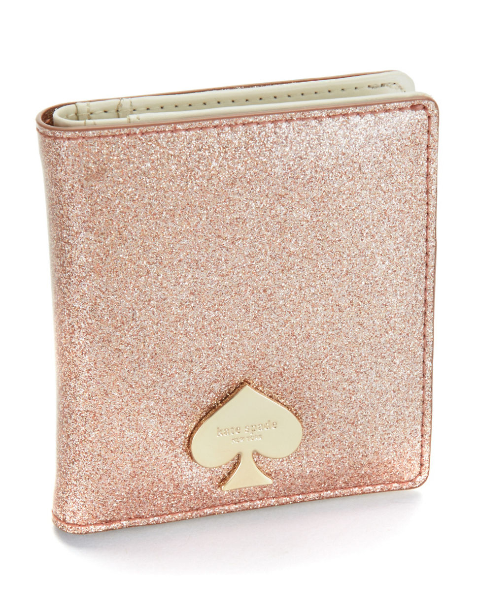 Kate Spade Glitter Bug Small Stacy Wallet In Gold Rose